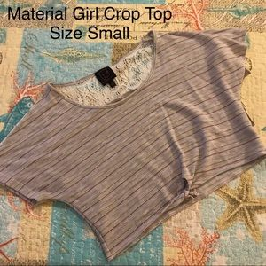 Material Girl Stripe Front Tie Crop Top Size Small